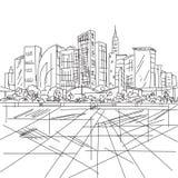 Schets huizen en de bouw Minimalismcontouren in vector zwart Royalty-vrije Stock Foto