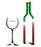 Schets illustratie van fles wijn en glas. Stock Foto's