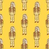 Schets inheemse Amerikaan in uitstekende stijl Stock Foto's