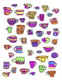 Schets kleurrijke koppen en mokken Royalty-vrije Stock Fotografie