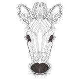 Schets, krabbel, hand getrokken illustratie van zebra stock illustratie