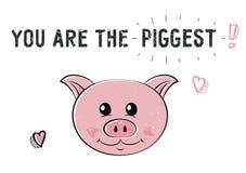 Schets leuk varken Illustratie voor de Valentijnskaartendag van Heilige Stock Afbeelding