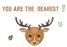Schets leuke herten Illustratie voor de Valentijnskaartendag van Heilige Stock Afbeelding