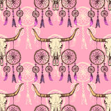 Schets longhorn en dreamcather stock illustratie