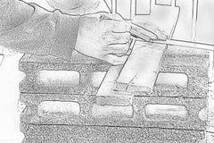 Schets mannelijke timmerman die met houten potlood op het werkplaats werken Achtergrondvakmanhulpmiddel Gezoem in1 stock foto