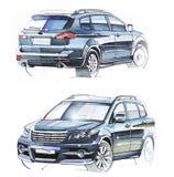 Schets met de hand van een voertuig met verhoogd terrein Illustratie Royalty-vrije Stock Foto's