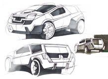 Schets met de hand van een voertuig met verhoogd terrein Illustratie Royalty-vrije Stock Afbeeldingen