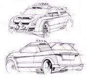 Schets met de hand van een voertuig met verhoogd terrein Illustratie Stock Foto