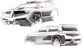 Schets met de hand van een voertuig met verhoogd terrein Illustratie Royalty-vrije Stock Foto