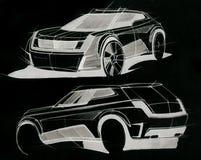 Schets met de hand van een voertuig met verhoogd terrein Illustratie Stock Afbeelding