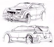 Schets met de hand van een voertuig met verhoogd terrein Illustratie Stock Fotografie