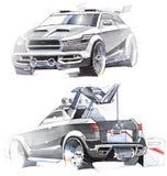Schets met de hand van een voertuig met verhoogd terrein Illustratie Stock Foto's