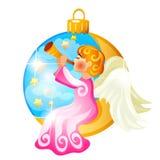 Schets met Kerstboomdecoratie in de vorm van engel, die de fluit spelen, op witte achtergrond wordt geïsoleerd kleurrijk royalty-vrije illustratie