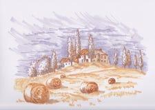 Schets met Toscanië Stock Afbeelding