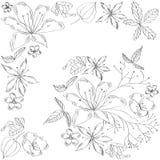 Schets met (zwart-witte) bloemen stock illustratie
