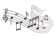 Schets muzikale correcte golf met muzieknota's Hand getrokken vectorillustratie Stock Fotografie