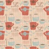 Schets naadloos patroon met koffie en theekoppen Royalty-vrije Stock Afbeelding