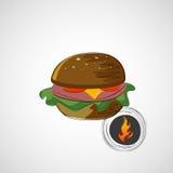 Schets sappige en smakelijke hamburger Het pictogram van toestellen Stock Foto