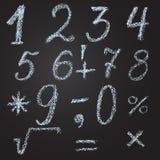 Schets van aantallen en wiskundige tekens in krijt op zijn handen Stock Afbeeldingen