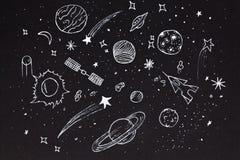 Schets van abstracte ontwerp ruimteelementen over nachthemel vector illustratie