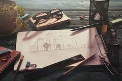 schets van architectuur op het bureau royalty-vrije stock foto