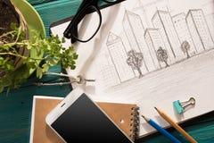 schets van architectuur op het bureau royalty-vrije stock foto's