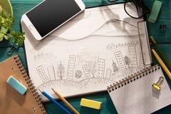schets van architectuur op het bureau stock afbeelding