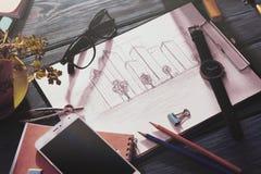 schets van architectuur op het bureau stock foto