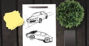 Schets van auto'shand die op papier trekken royalty-vrije stock fotografie