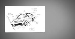 Schets van autohand die op papier trekken stock fotografie