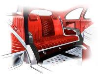 Schets van binnenlands ontwerp van een retro coupéauto Illustratie Stock Foto