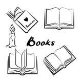 Schets van boeken Hand getrokken geplaatste boeken Geopende en gesloten boeken Stock Foto's