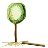 Schets van boom met potlood stock illustratie