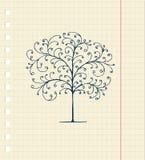 Schets van boom op notitieboekjeblad voor uw ontwerp stock illustratie
