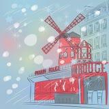 Schets van cityscape met Moulin-Rouge in Parijs stock illustratie