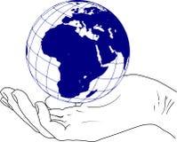 Schets van de aarde in de hand - oriënteer vector illustratie