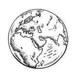 Schets van de aarde Vector illustratie die op witte achtergrond wordt geïsoleerdd royalty-vrije illustratie