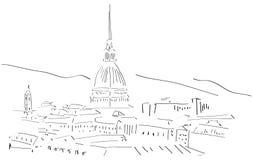 Schets van de Horizon van Turijn stock illustratie