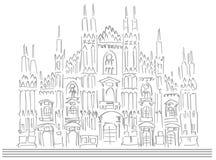 Schets van de kathedraal van Milaan vector illustratie