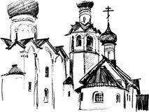 Schets van de kerk Stock Afbeeldingen