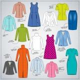 Schets van de kleding van vrouwen van de beschrijving Gekleurde kleding, blouses, rokken, sweaters, jasjes royalty-vrije illustratie