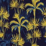 Schets van de de krabbellijn van de de zomernacht de tropische hand getrokken plam en coc vector illustratie