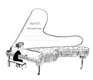 Schets van de meisjes de speelpiano - achtergrond voor een muzikaal overleg royalty-vrije illustratie