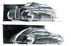 Schets van de retro stijl van de conceptenauto Illustratie Stock Foto