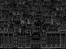 Schets van de stad, die door een wit overzicht wordt getrokken Royalty-vrije Stock Foto's