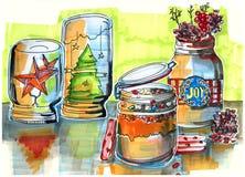 Schets van de winter decoratieve kruiken Stock Afbeelding