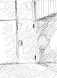 Schets van een Deurarchitectuur stock illustratie