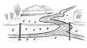 Schets van een dorpsweg Stock Afbeelding