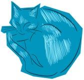 Schets van een gestileerde geïsoleerde kat Stock Afbeelding