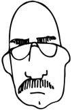 Schets van een kale mens met een snor die glazen dragen Stock Afbeelding